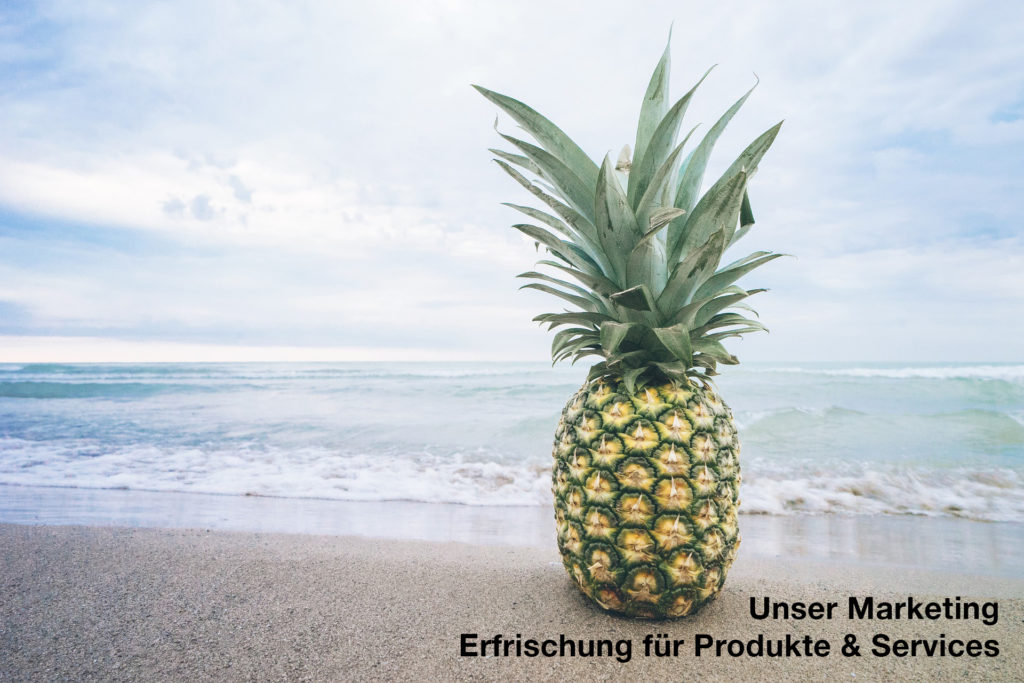 Ananas am Meer zur Marketing Erfrischung